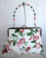 Raspberry Floral Clutch with Removable Beaded Handle 2