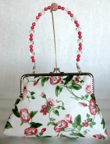Raspberry Floral Clutch with Removable Beaded Handle