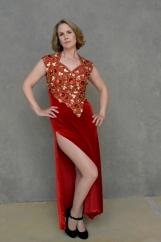 Red Diamond Beaded Formal Dress - M