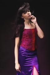 Red Lace & Royal Purple Satin 2 Piece ( S )