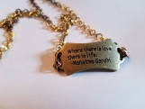 Brass mahatma gandhi necklace quote where there is love there is life