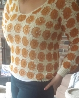 Gorgeous burnt yellow flowers and cream sweater