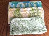 Hand Knit Dish Cloths, 3 pc set