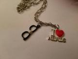 I love nerds necklace / i heart nerds necklace / black glasses necklace / nerd black glasses