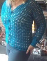 Teal Green Cardigan Sweater