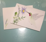 Hummingbird Watercolor Hand-painted Card