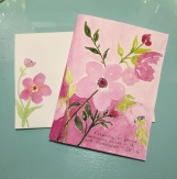 Pink Floral Pink Background Hand-Painted Greeting Card