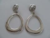 Swirly Flat Round Hoop Clip On Earrings