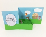 Party Bears Birthday Card Z-fold Box Card