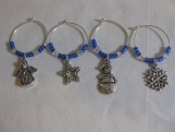 Blue Holiday Wine Charms