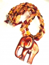 Bohemian, Glazed Wood Elephant, Sari Silk Ribbon, Necklace