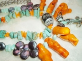 Huge Orange Coral Necklace, Abalone Spear, Turquoise, Pearls