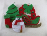 Red and Bright Green Christmas Tree Ornament Set
