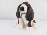 Clay hound dog sculpture figurine