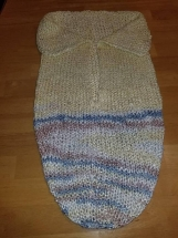 Soft cuddly baby cocoon in bamboo blend yarn