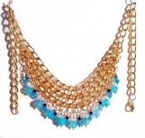 Fire Agate Necklace, Bib Necklace, Gold Necklace, Blue Necklace