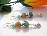 Green Aventurine Earrings, Mixed Gemstone Jewelry, Jade Nugget