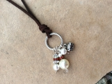 Handcrafted Pearl and Leather Necklace And Earrings