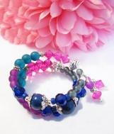 Lapis Lazuli Gemstone Bracelet, Multi Color Memory Wire Jewelry