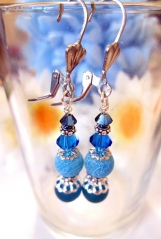 Royal Blue Earrings. Dangle Beaded Earrings, Agate Earrings Sale