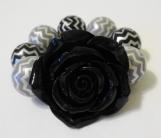 Child's Black Flower and Chunky Grey Bracelet
