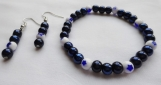 Nautical Blue Pearl Beaded Bracelet with White Beads with Stars