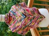 Elegant shawl vibrant colors of pinks, blues, yellow merino wool