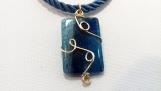 Rectangular blue Agate choker - PANE042