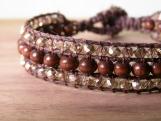 Afterglow Cufflet, Beaded Bracelet, Hand Beaded, Bead Weaving, Stacking Bracelets, Wooden, Golden Glass Beads, Vegan, Birthday Gift