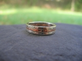 Triad Hammered Band . Sterling Silver and Copper . Man's Wedding or Everyday Band