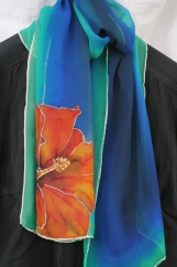 Silk Scarf, handpainted in Emerald with Orange Hibiscus