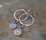 Fine Silver Spiral Hoop Earrings Handmade