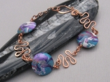 Copper Bracelet with Purple and Teal Polymer Clay Discs