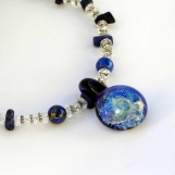 """Lapis, Quartz, Lampwork and Sterling Silver """"Universe"""" Necklace"""