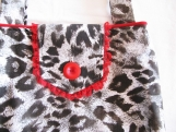 Leopard Print Shoulder Bag w Red Lace-Handmade