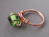 Green Glass and Copper Wire Ring