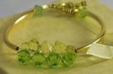 Peridot and Jonquil Swarovski Crystal Gold Tube Bangle Bracelet