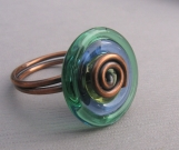 Blue and Green Lampwork Glass and Copper Wire Ring Size 6