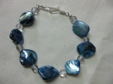 Pink or Blue Mother of Pearl and Crystal Chunky Bracelet