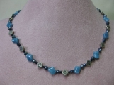 Celtic Knot and Blue Pearl and Crystal Necklace