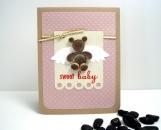 Quilled Angel Bear Pink Baby Card