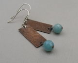 Antiqued Copper and Amazonite Earrings