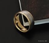 Genuine Stainless Damascus Steel 18K Yellow Gold Mens Ring