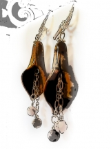 Brown Tiger Eye Trumpet Earrings