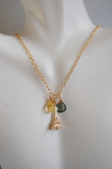Green Mystic Quartz, Citrine and Eiffel tower Charm Neckl