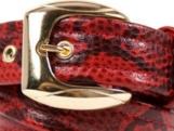 Snake-Print Red Leather Belt