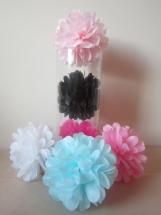 """15 Mini Tissue Paper Pom Poms, 4-5"""" in diameter, you pick colors"""