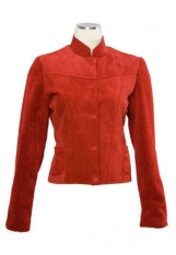 Suede and boucle fabric jacket.