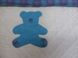 Blue and Plaid Sleeping Teddy Baby Quilt