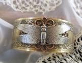 Bracelet-Dragonfly, Mixed Metal Cuff Brass Bracelet